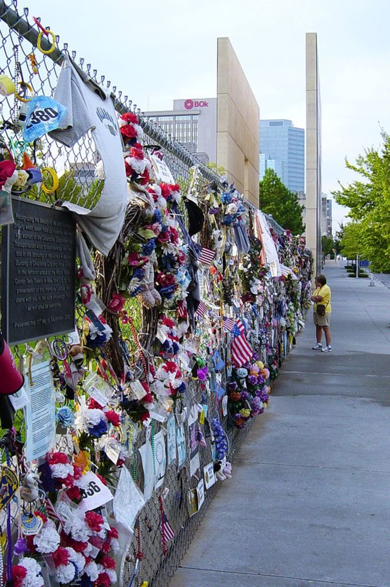 The Memorial Fence and east Gate of Time at the Oklahoma City National Memorial.