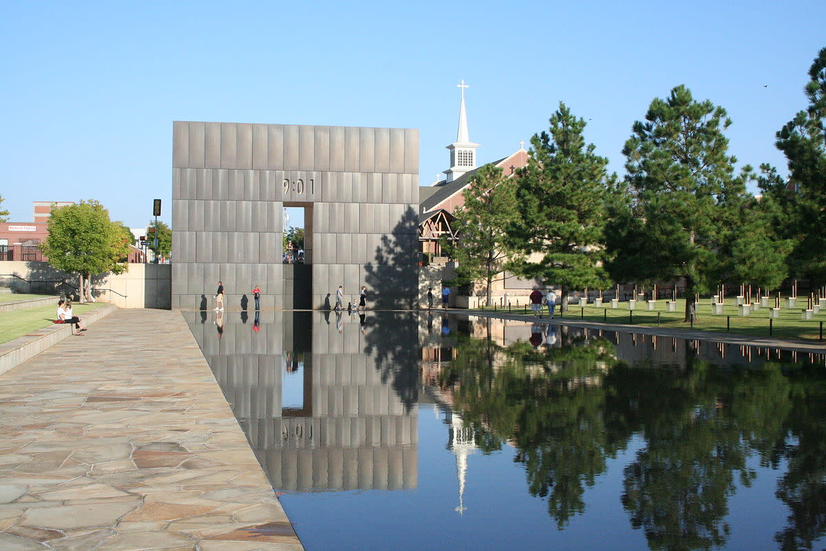 Views in and around the Oklahoma City National Memorial. 9:01 gate