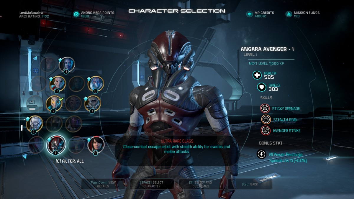Unarguably, the best class for beginners trying out platinum difficulty missions is the Angaran Avenger class.
