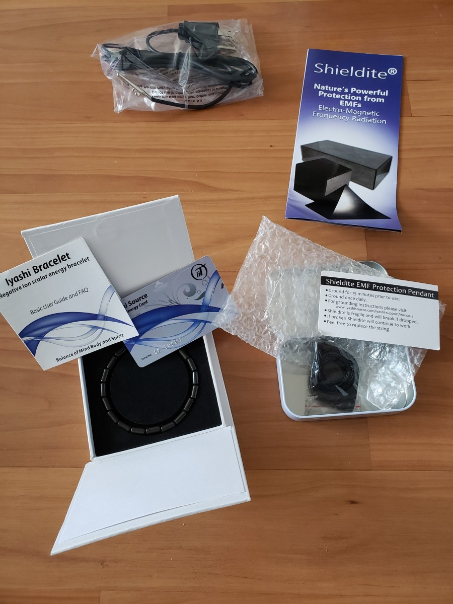 The bracelet, pendant, and Scalar Energy card I purchased for protection against EMF radiation.
