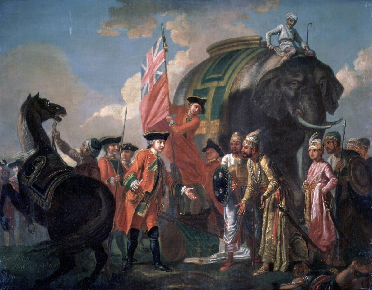 """Clive meeting Mir Jaffar after the """"battle"""" of Plassey, really more of an elaborate theater to transfer power to Jaffar as the British puppet in Bengal."""