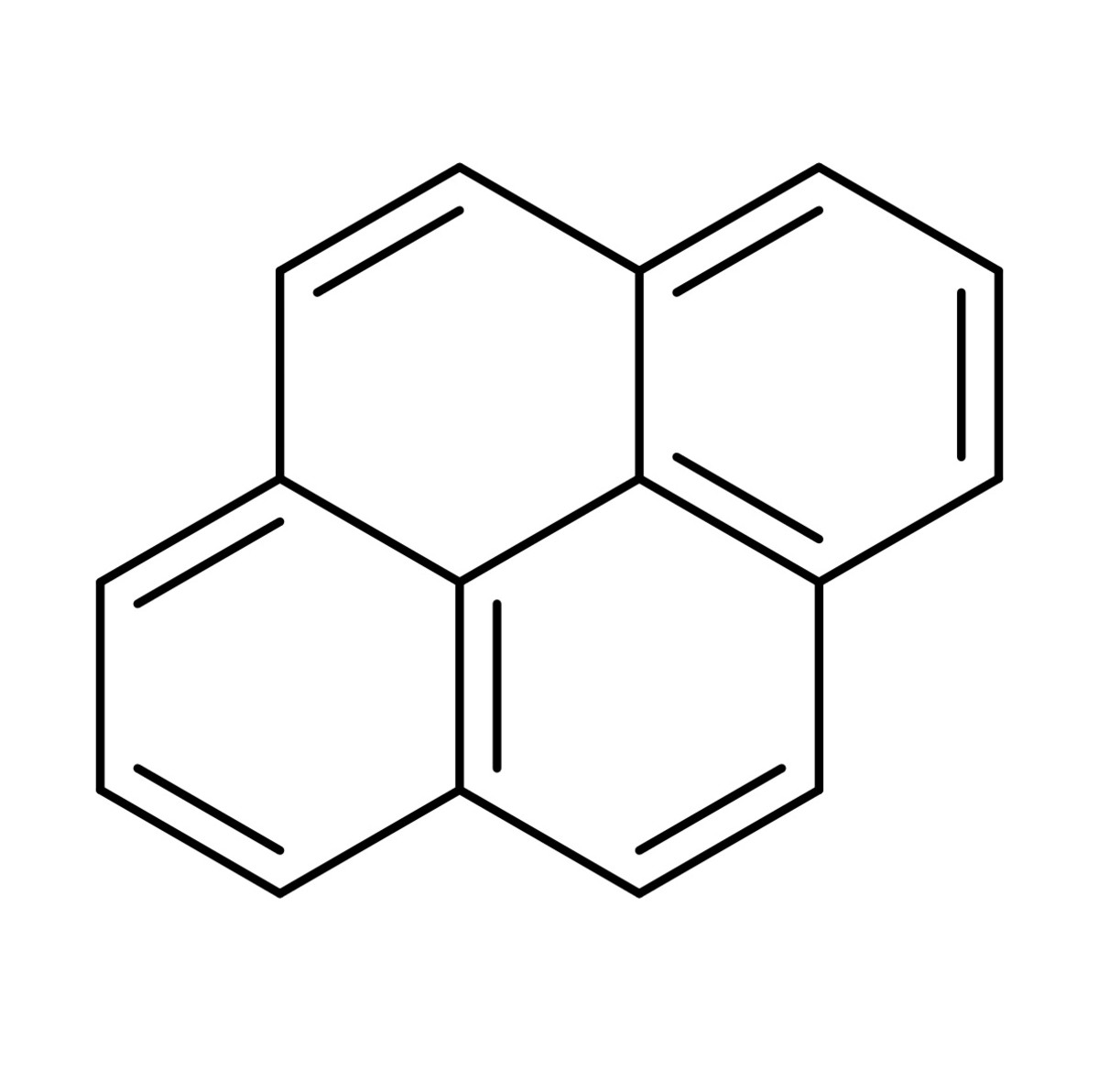 The structure of pyrene, one type of polycyclic aromatic hydrocarbon