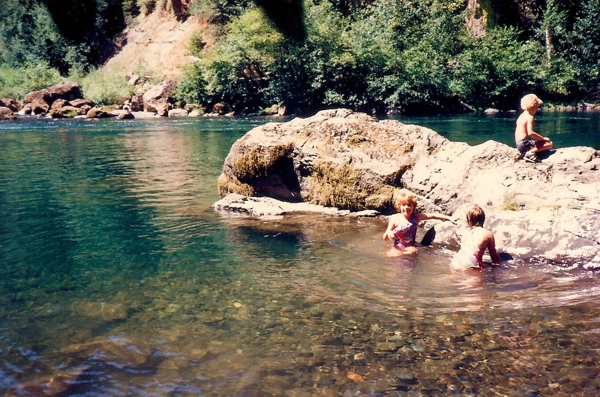 My niece decides to enjoy the cold waters of the Umpqua River