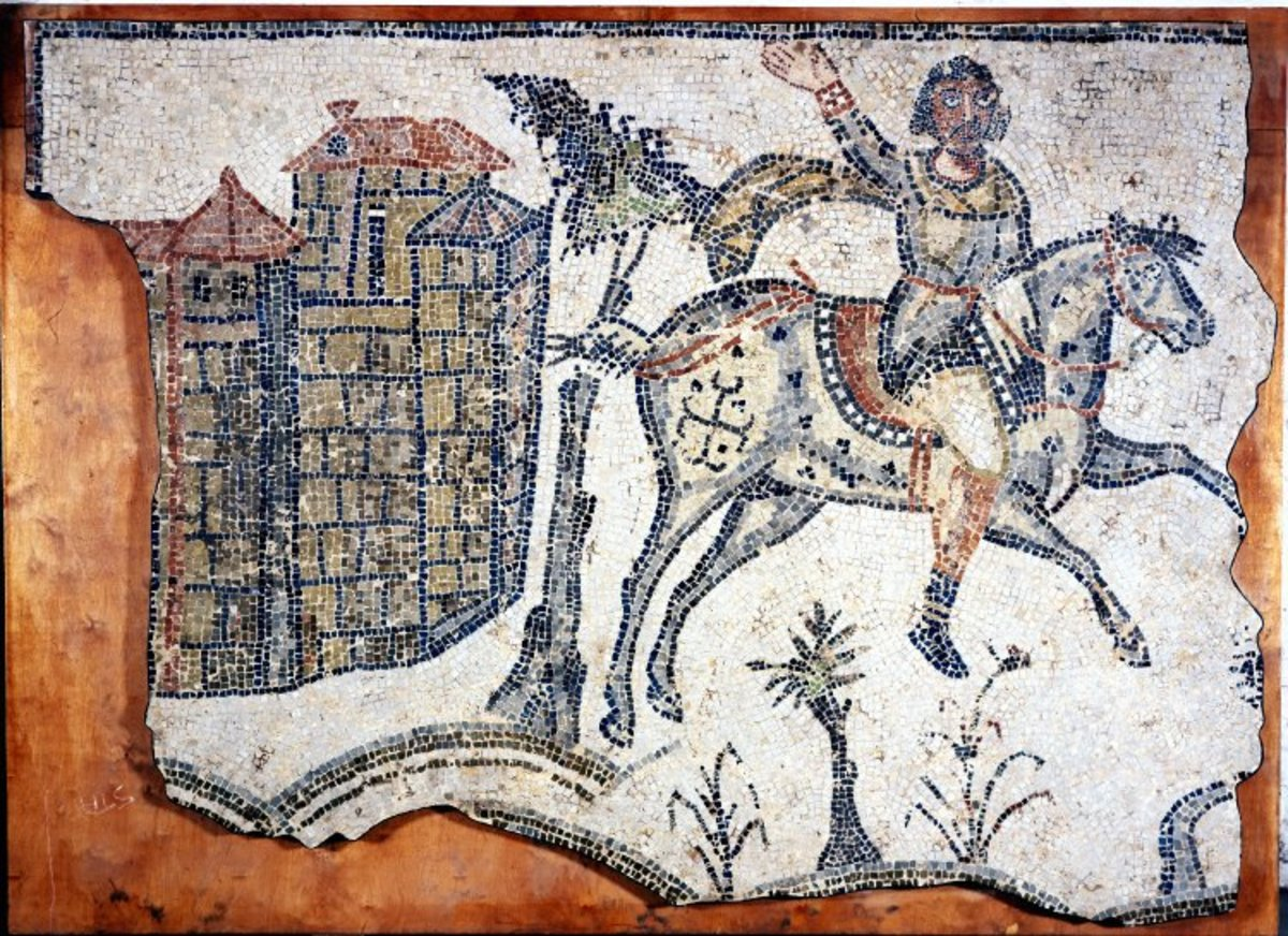 Mosaic depicting the Vandals' attack on Carthage. Circa 500 AD