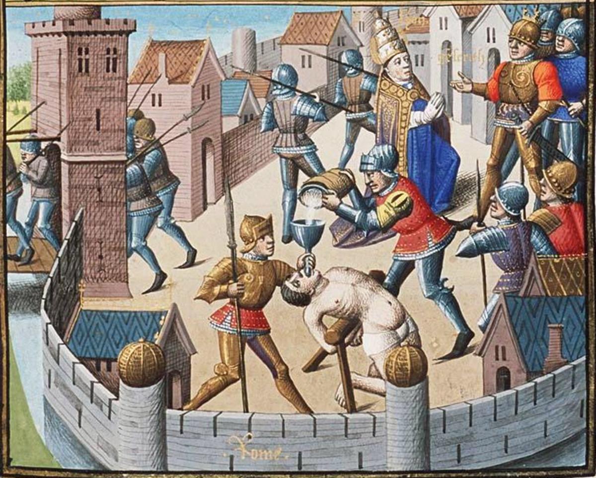Illuminated manuscript depicting Genseric's violent nature. Orginal circa 1475.