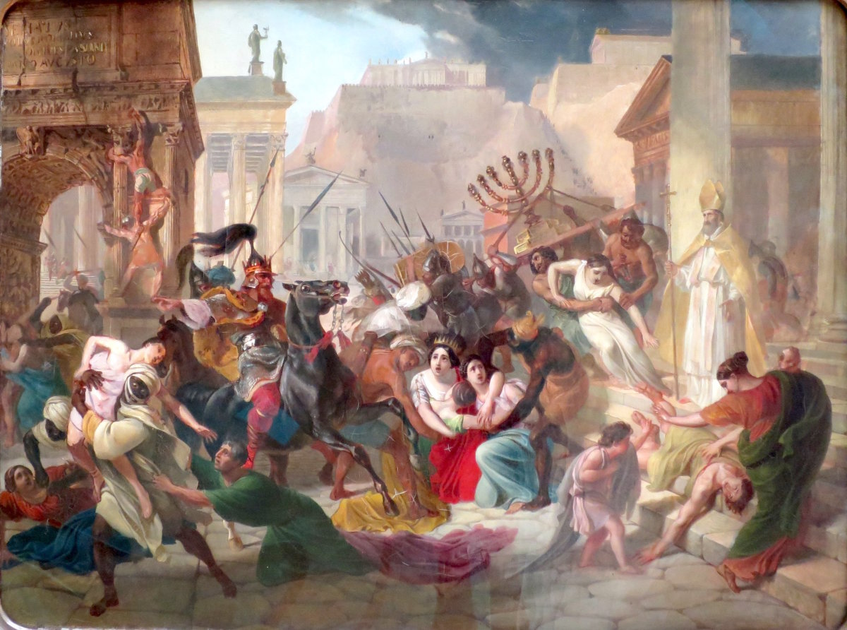 Genseric Sacks Rome. Painted in the 19th Century by Karl Bryullov