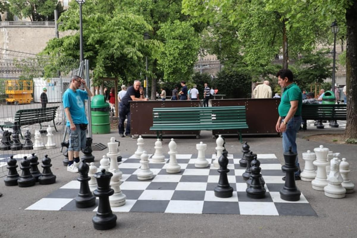 Enhance your thinking AND stamina playing with giant chess pieces.