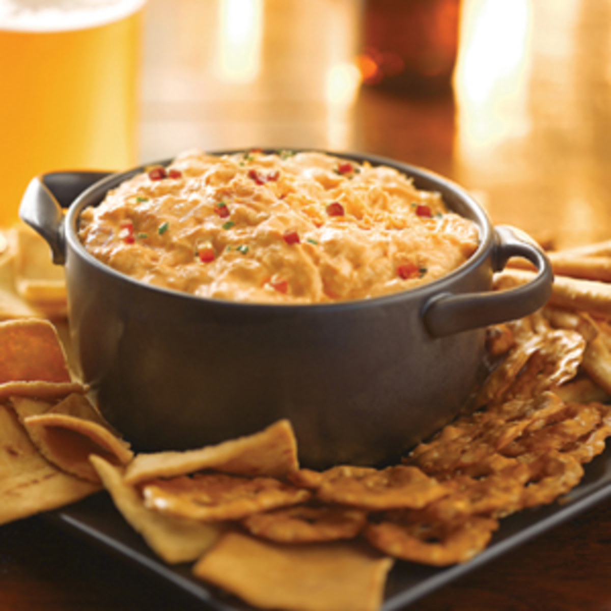 My absolute favorite snack for trivia night: buffalo chicken dip.