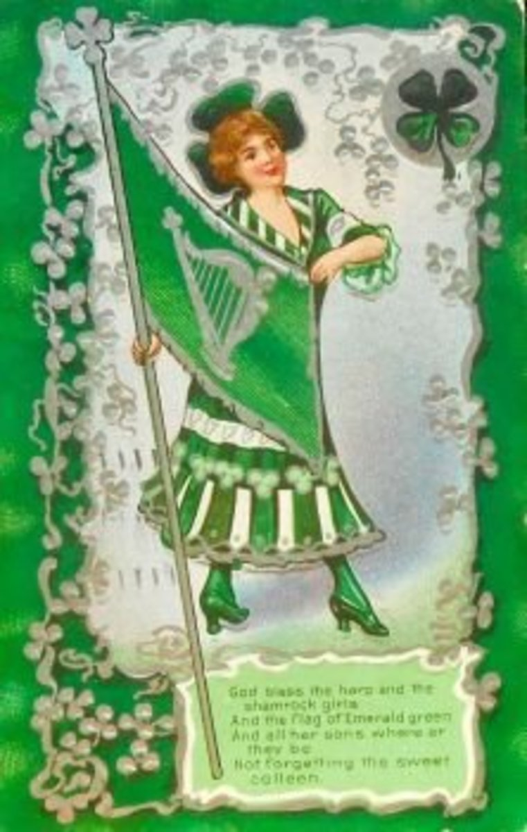The Shamrock is often confused with the four-leaf clover. This image of the Shamrock girl, bears the Lucky Clover in the top right hand corner of the picture.