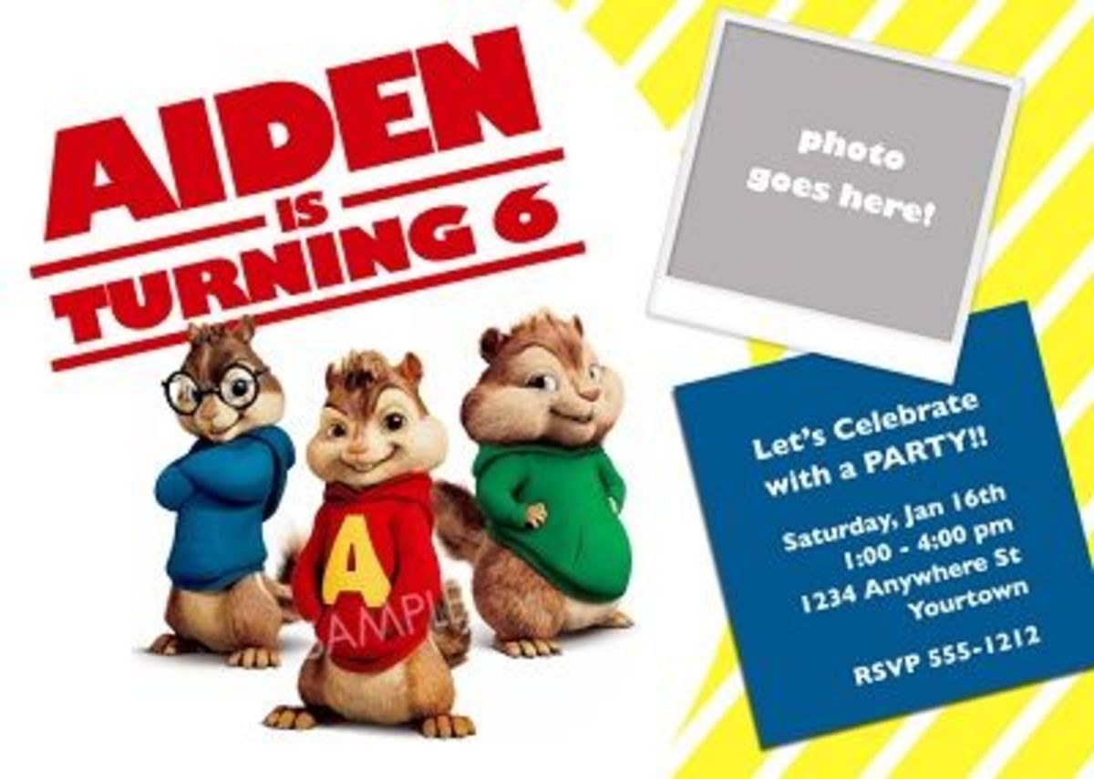 alvin and the chipmunks photo invites available at Pixelberryparties.com