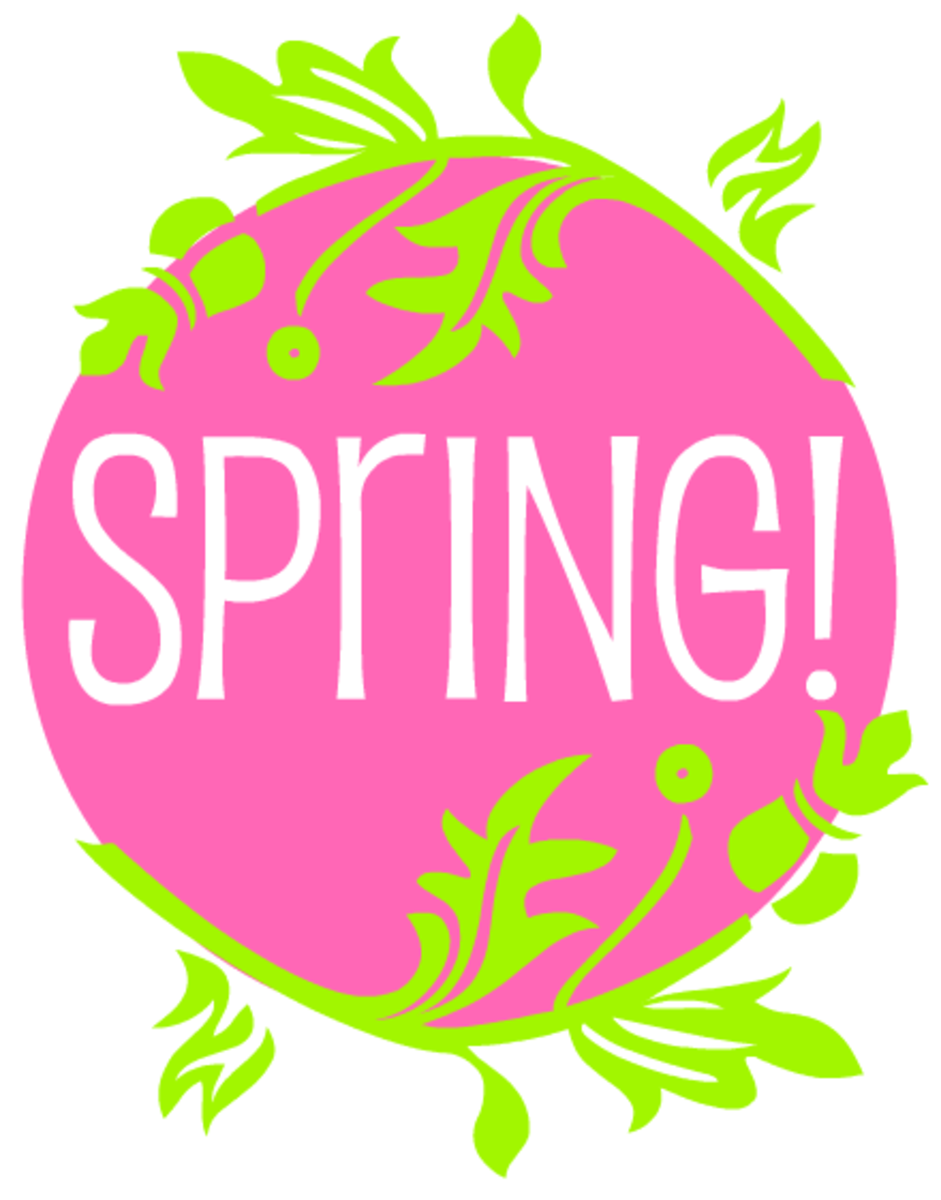 """White Spring lettering in pink circle with green scrollwork branches """"Floralia"""" components designed by Manfred Klein"""