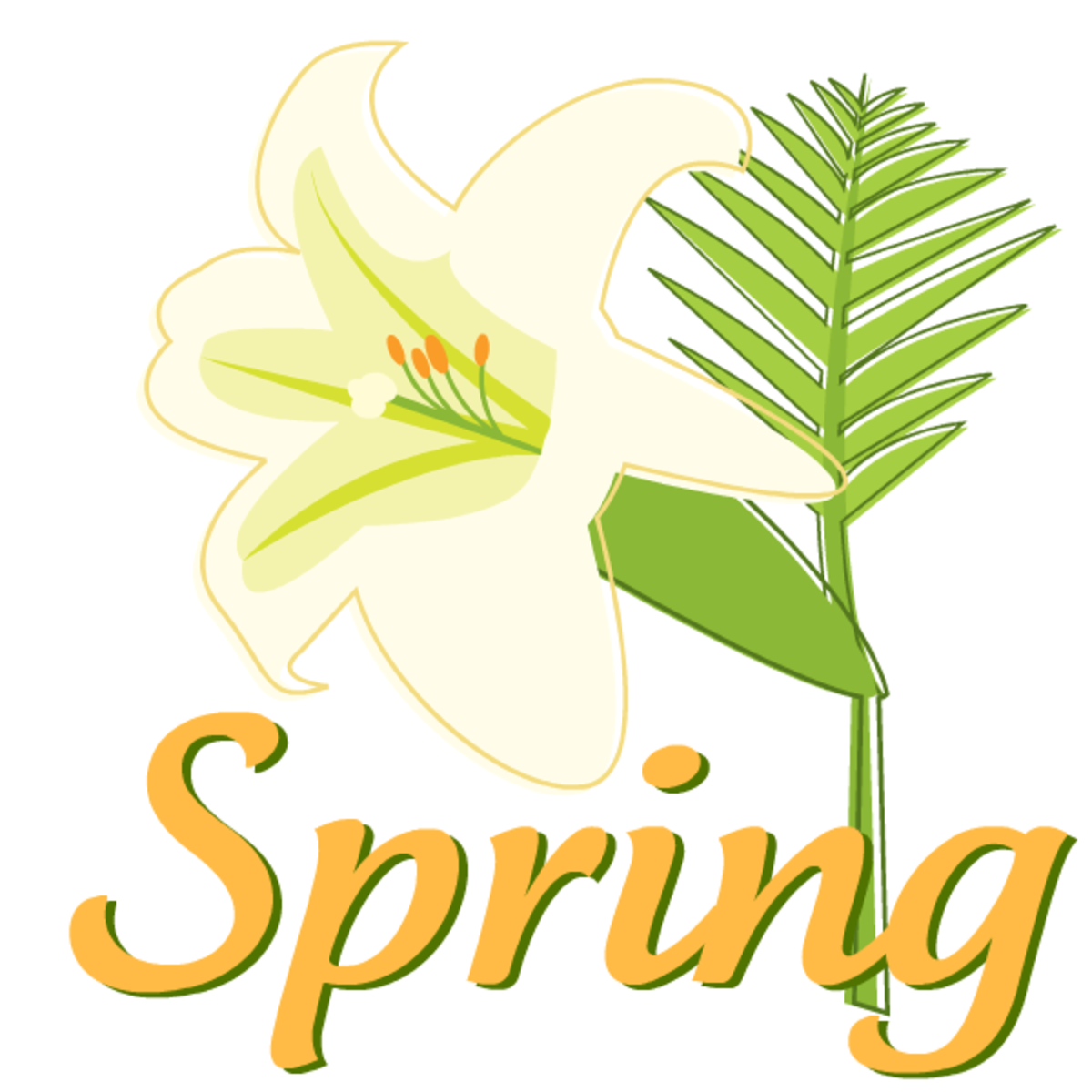 Easter lily Spring with gold lettering