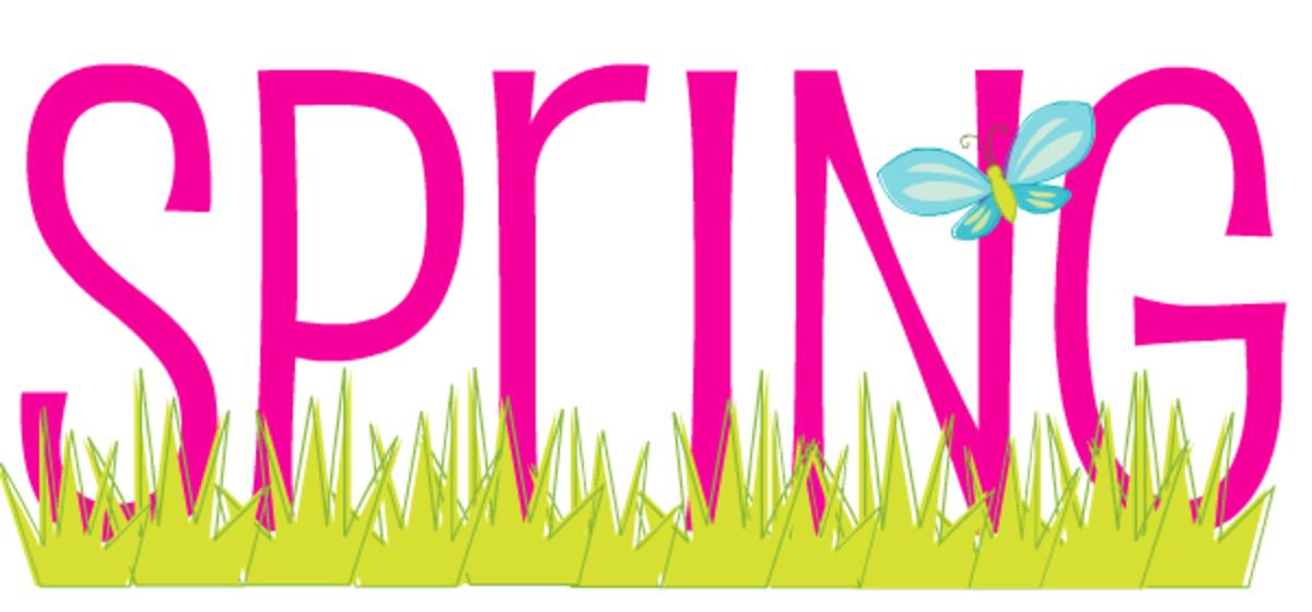 Bright pink Spring with green grass and blue butterfly