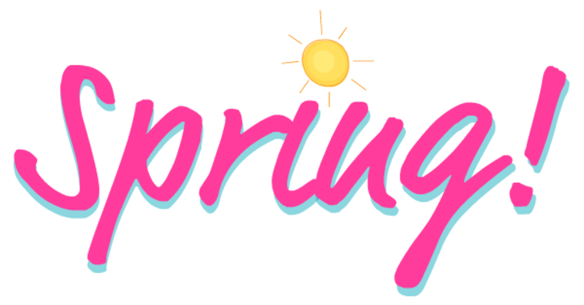 Pink Spring clip art with yellow sun