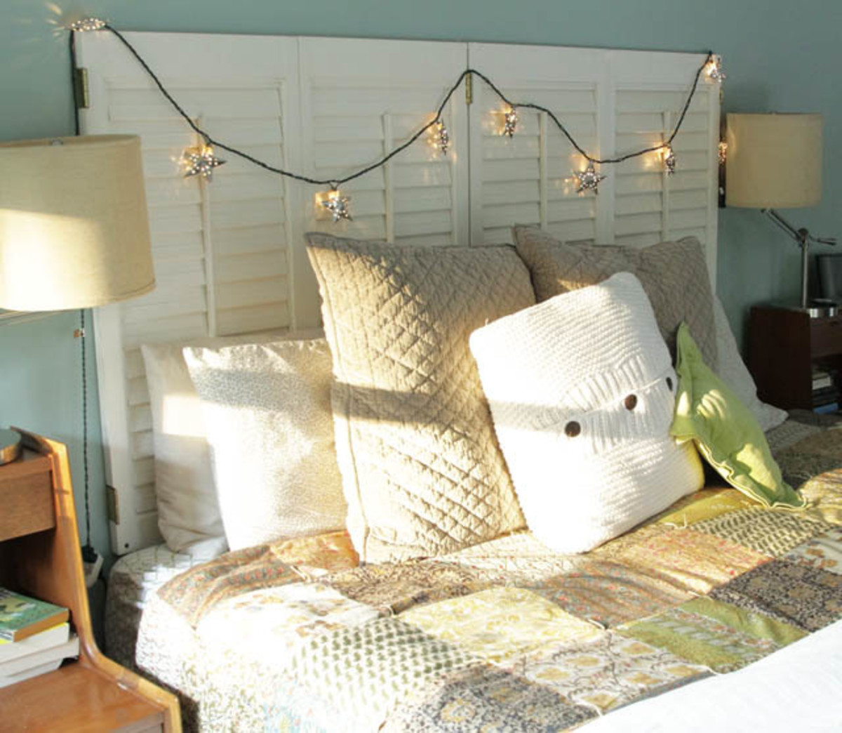 These were made with the plantation shutter headboards for the adorable bed