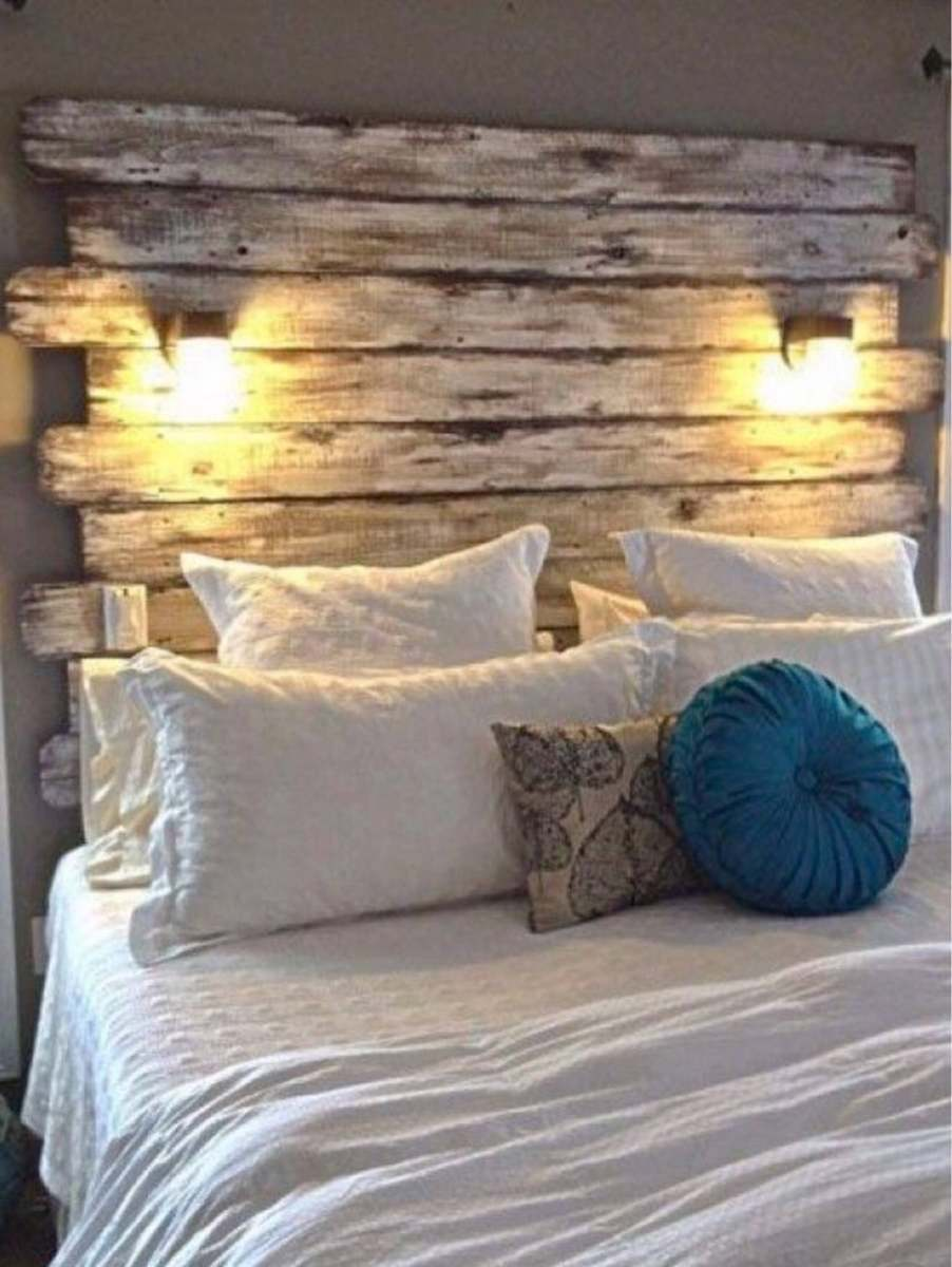 Headboard the rustic replica with attached lights on the option.