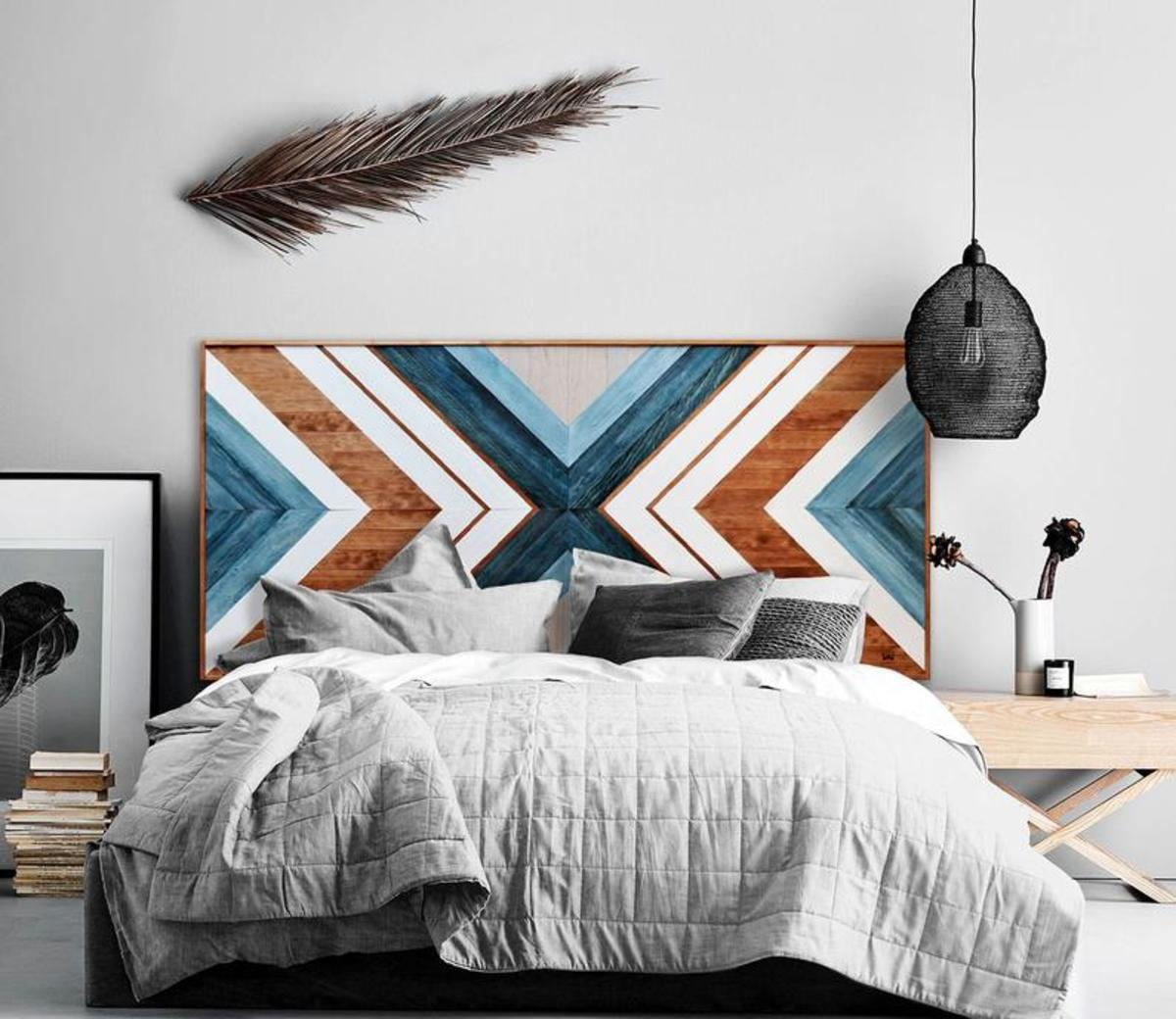 Strong wild pine wood is used to create this unique wooden headboard. They are cut, sanded, painted and dyed by hand.