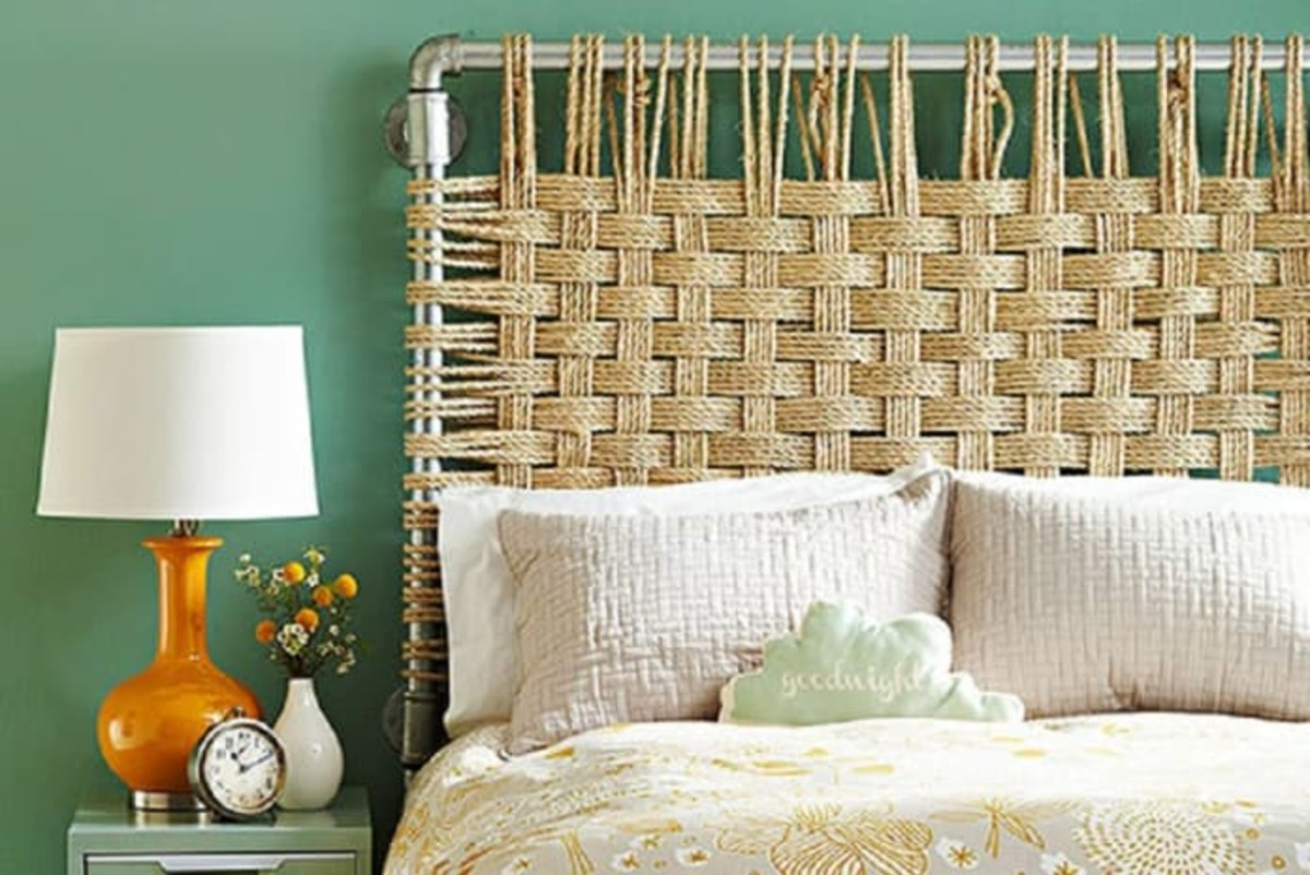 Paint the silver pipes that do macrame woven ropes. The pipes that screws on the wall.