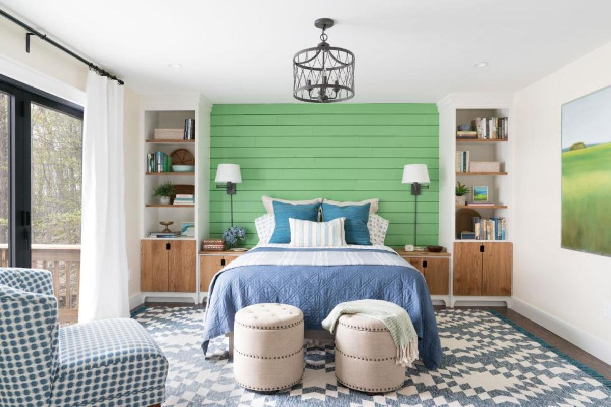 To install the planked platform headboard wall for the shiplap!