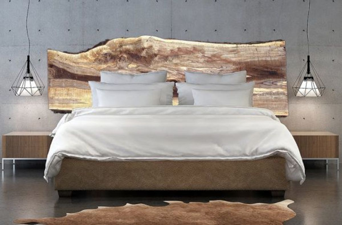 Custom live edge wood headboards. Beautiful large wood slabs, hand crafted into unique,