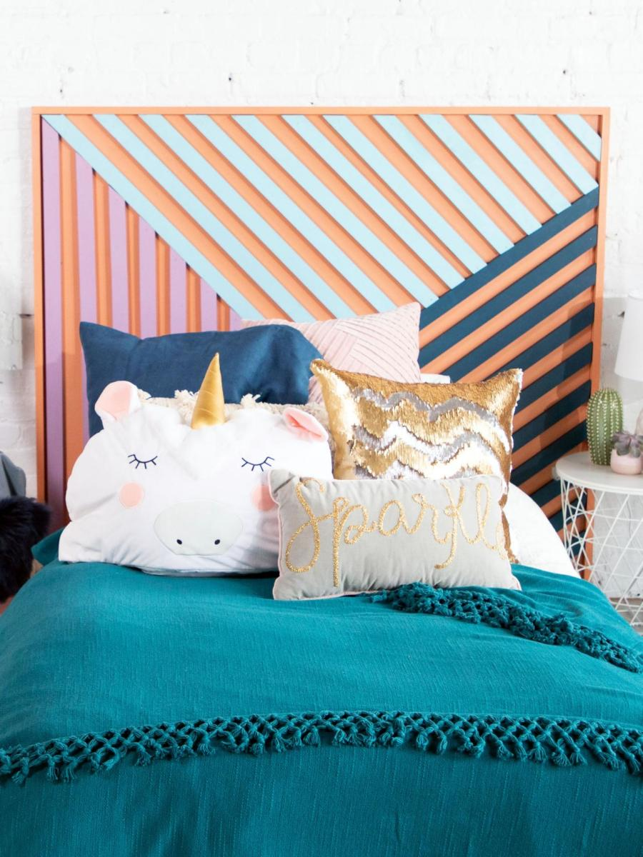 This DIY contemporary art headboard is the dream project for you if you're looking for a chic way to bring personality and color to your bedroom.