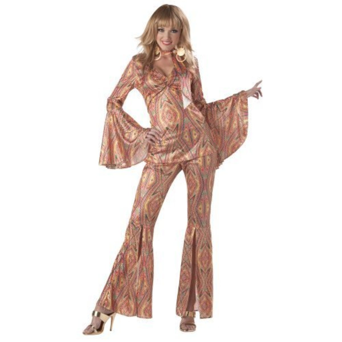 'Disco Fashion' In the seventies. Clothes designed to show off the body and made in materials like figure moulding stretch Lycra were ideal.