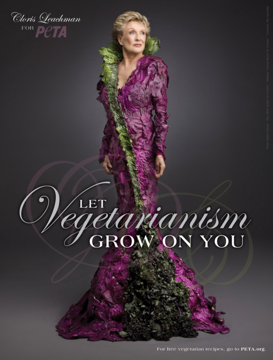 In todays world clothing is made from even edible materials.In this picture 'Cloris Leachman' is attired in a cabbage dress