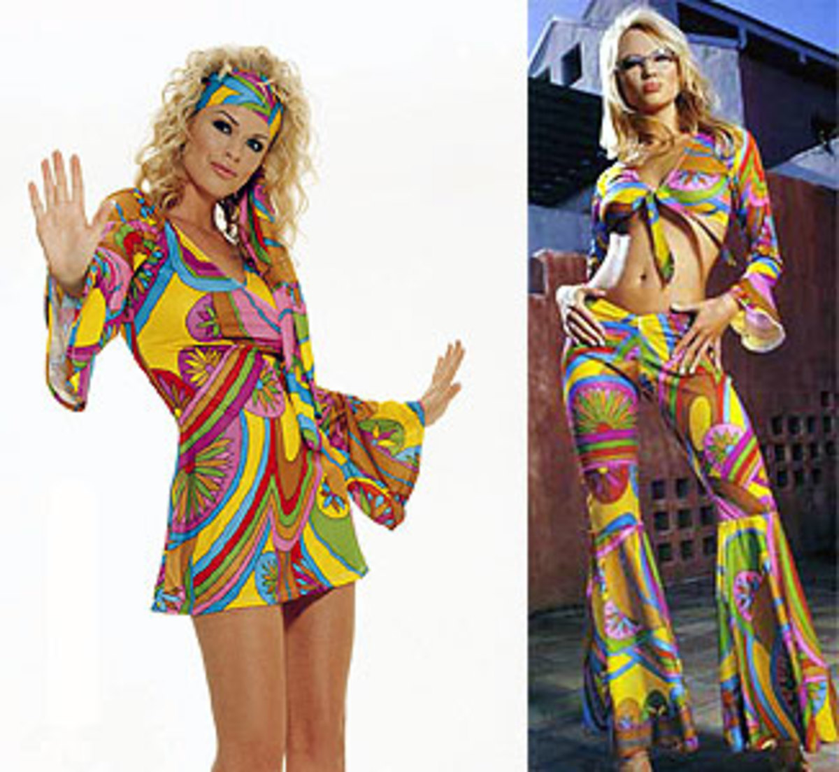 'The Hippy Look' included brightly coloured clothing and  unusual styles,such as bell-bottom pants