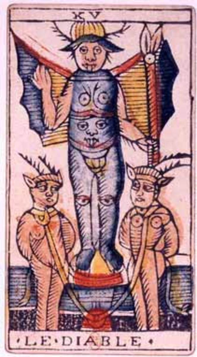 The Devil: the card is about short cuts and trying to find instant gratification. It's always a trick. The Devil gives you false impressions about free-will; he wants you to be less than human.