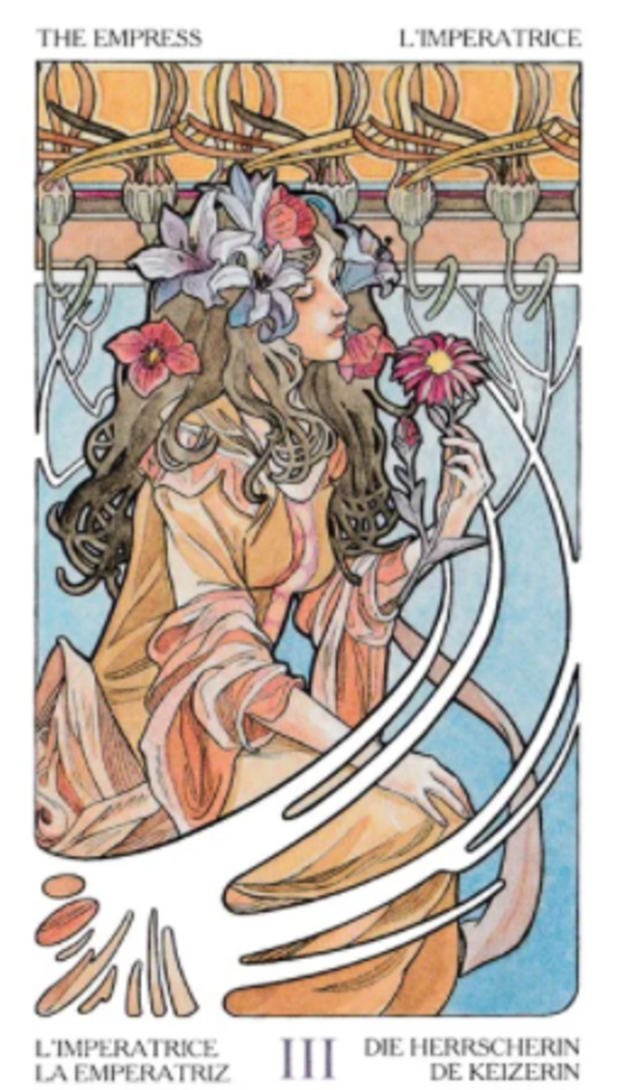 The Empress: love and remember you are nature. The Empress encourages you to enjoy all the gifts of Earth. She is a symbol of prosperity, abundance, wealth, health, and nourishment. She knows the secrets of the earth element.