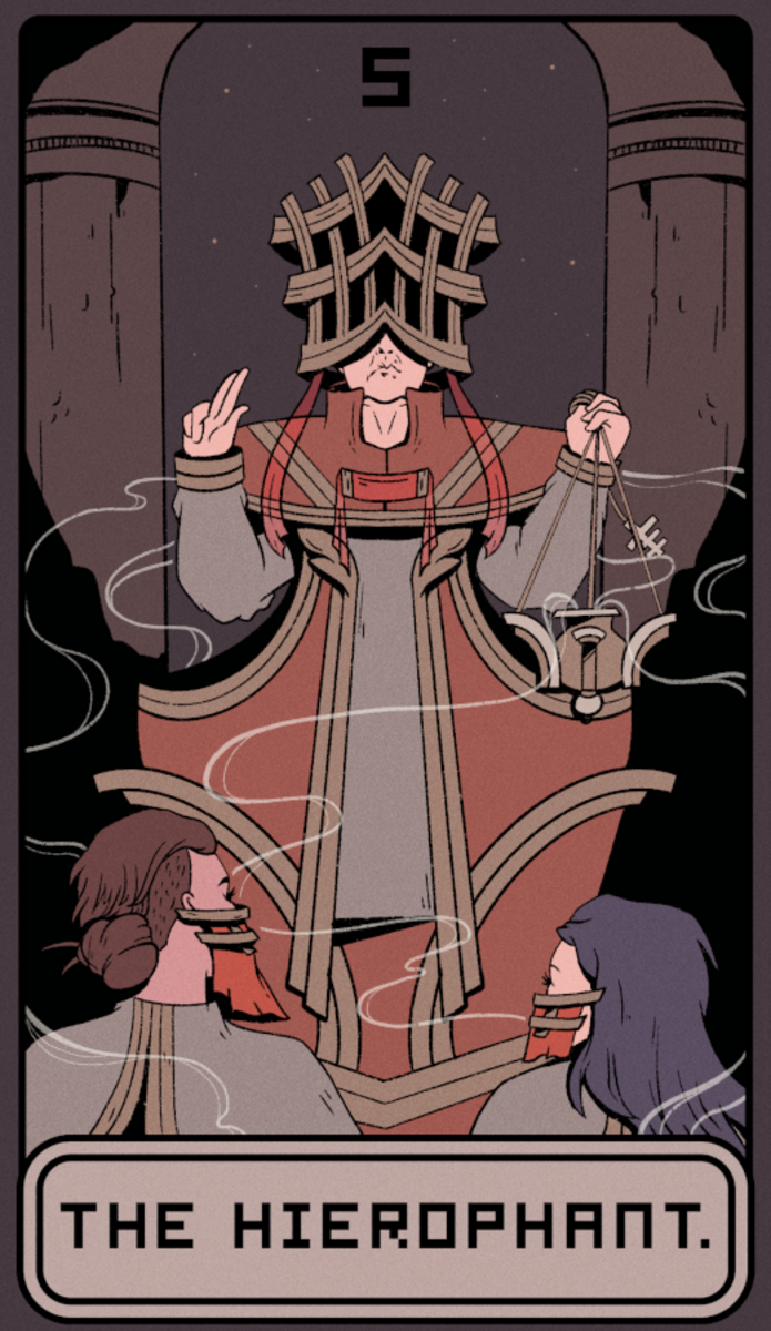 The Hierophant: the church card. It encourages traditions, rituals, and repetition. Through consistency a legacy is created. Through consistency one can have spiritual growth.