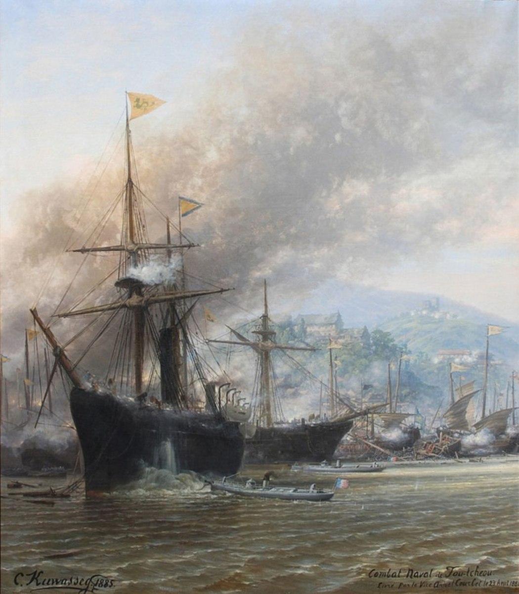 French torpedo boats attacking Chinese ships at Foochow