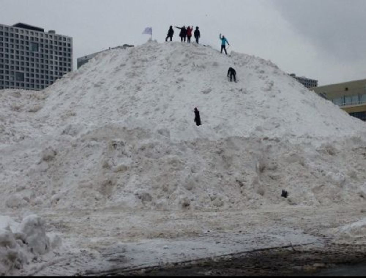 A snow mountain near MIT in Cambridge, Massachusetts