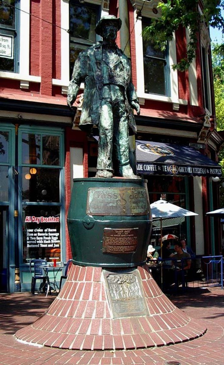 "Statue of ""Gassy Jack"" in Vancouver, British Columbia, Canada."