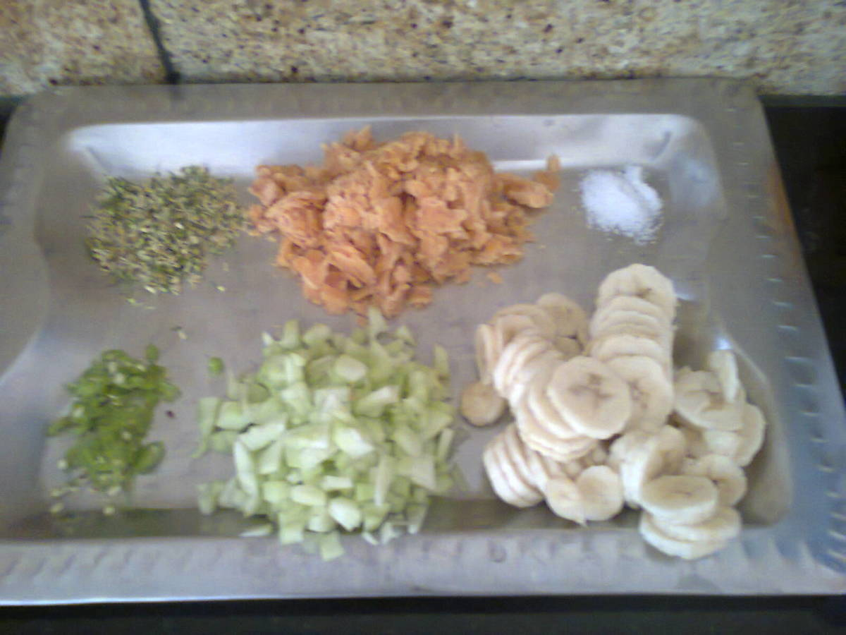 neem flowers and other items made ready for mixing