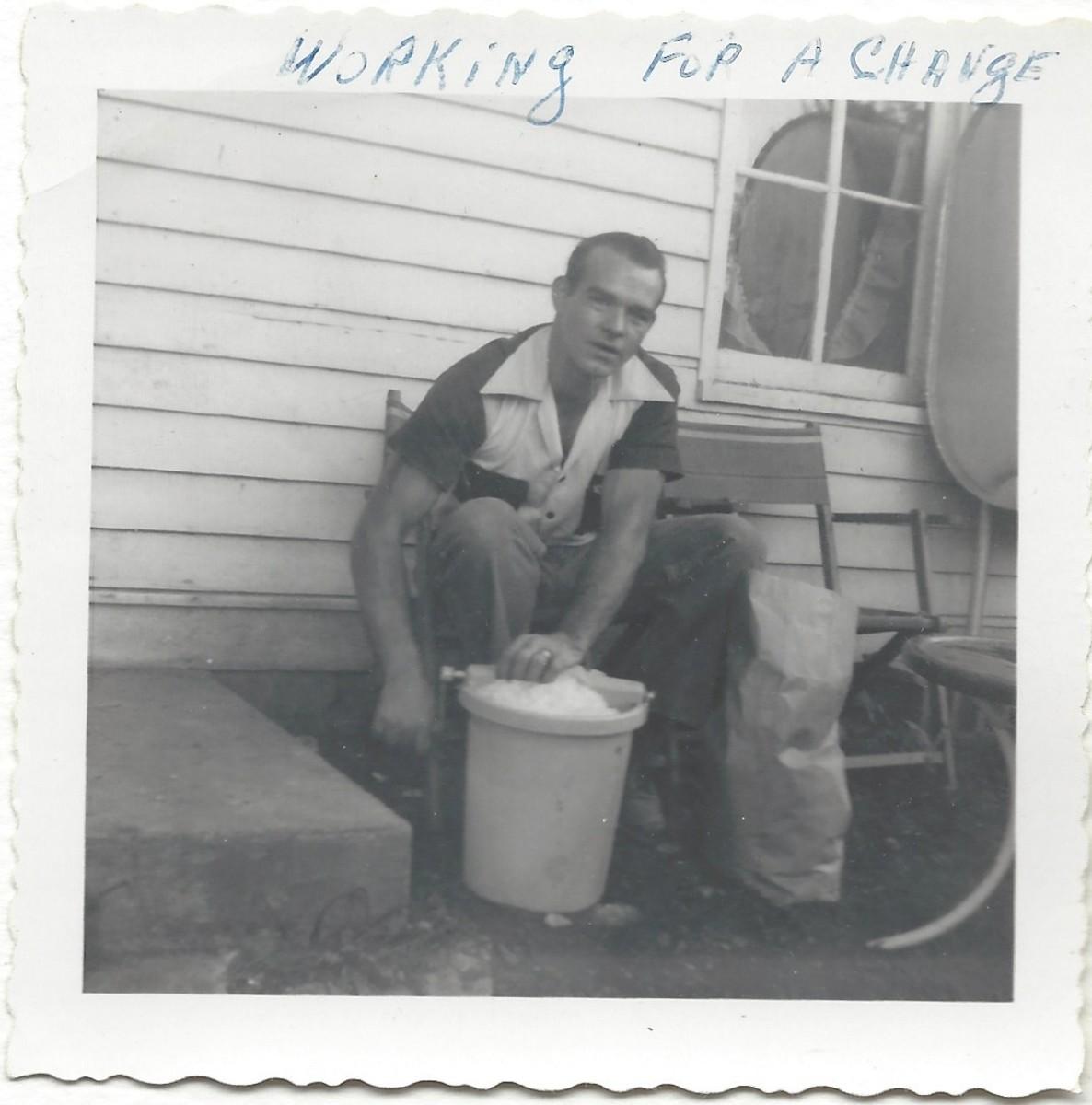 Dad churning ice cream