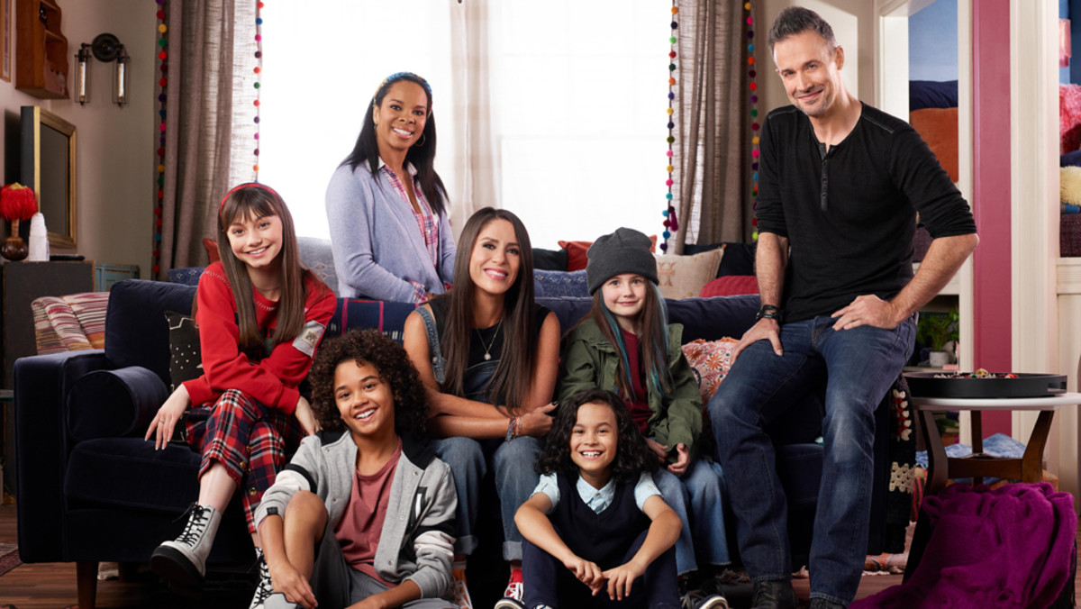 Soleil Moon Frye (middle, center row) plays her iconic Punky Brewster character who juggles being a single mother of three with taking in a young lady who reminds her a lot of her younger self in the new Punky Brewster revival on Peacock.