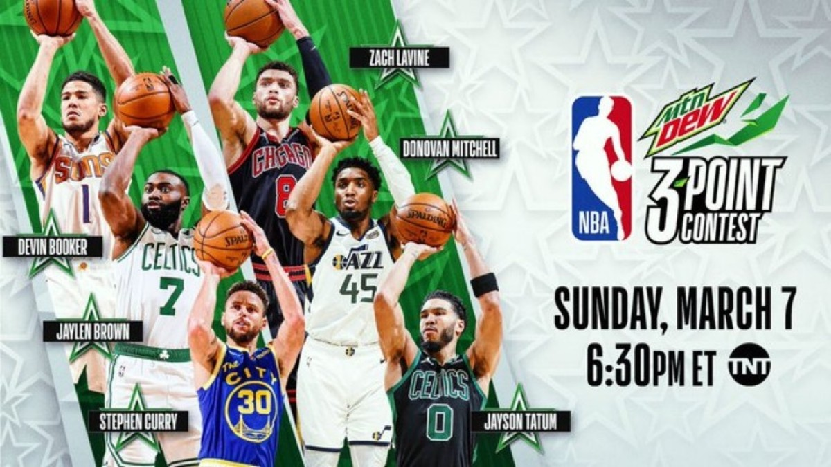 The NBA 3 point contest will have Devin Booker, Jaylen Brown, Steph Curry, Jayson Tatum, Donovan Mitchell, and Zach Lavine. (Mike Conley will replace injured Devin Booker)