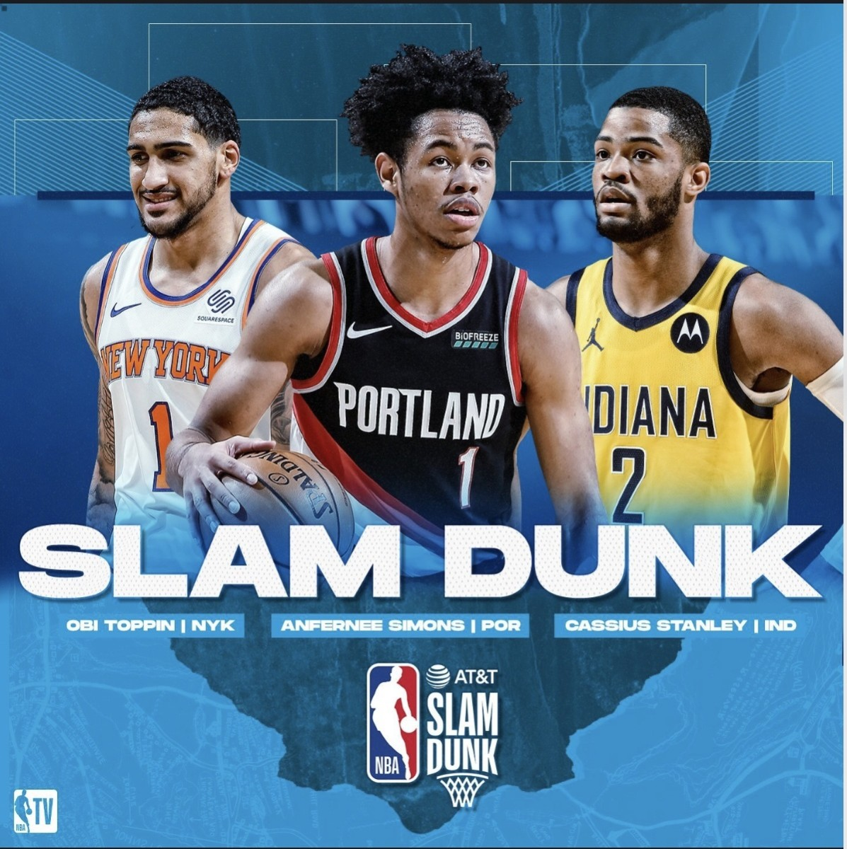 The dunk contest will surprisingly have three participants this year with Obi Toppin, Afernee Simons, and Cassius Stanley. Judges will be Dominique Wilkins, Spud Webb, Jason Richardson, Dee Brown, and Josh Smith.