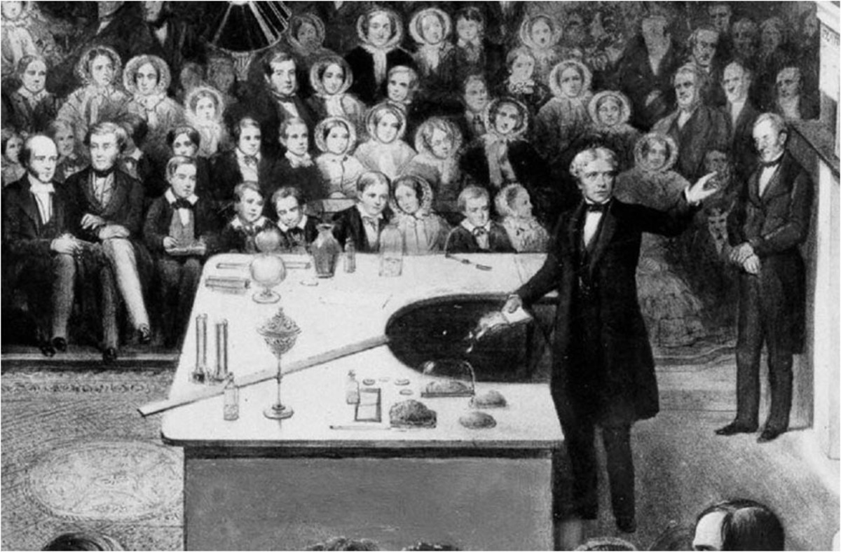An illustration of one of Faraday's Christmas lectures.