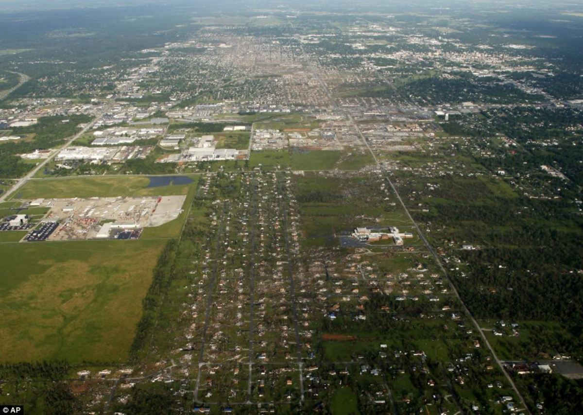 Shot of Joplin after the tornado, showing the path of destruction.