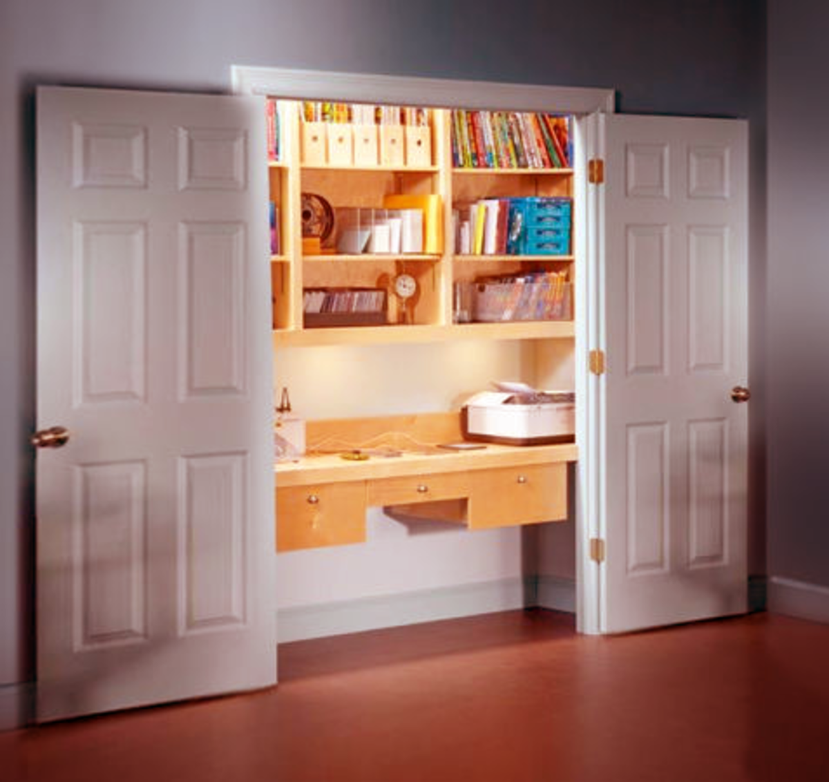 A closet is a great place to house home office equipment and supplies.