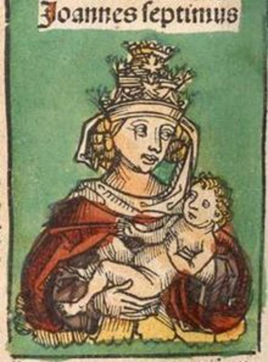 """Drawing of """"Pope John VII"""" published in 1493 in Hartmann Schedel's religious Nuremberg Chronicle."""