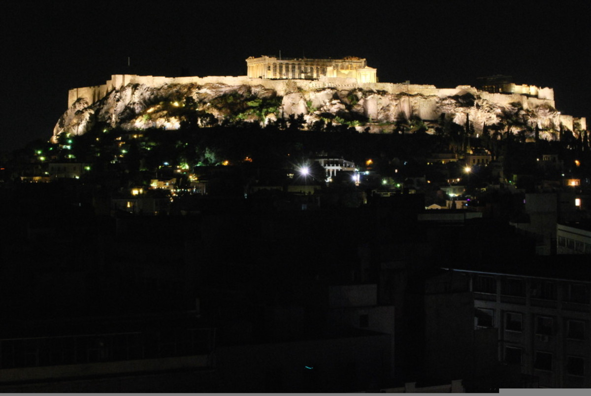 The Acropolis, at night. You can see the Parthenon the best from this shot.
