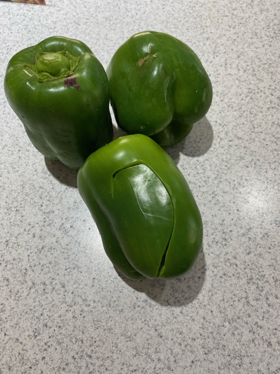 The green peppers were cracked and dried out