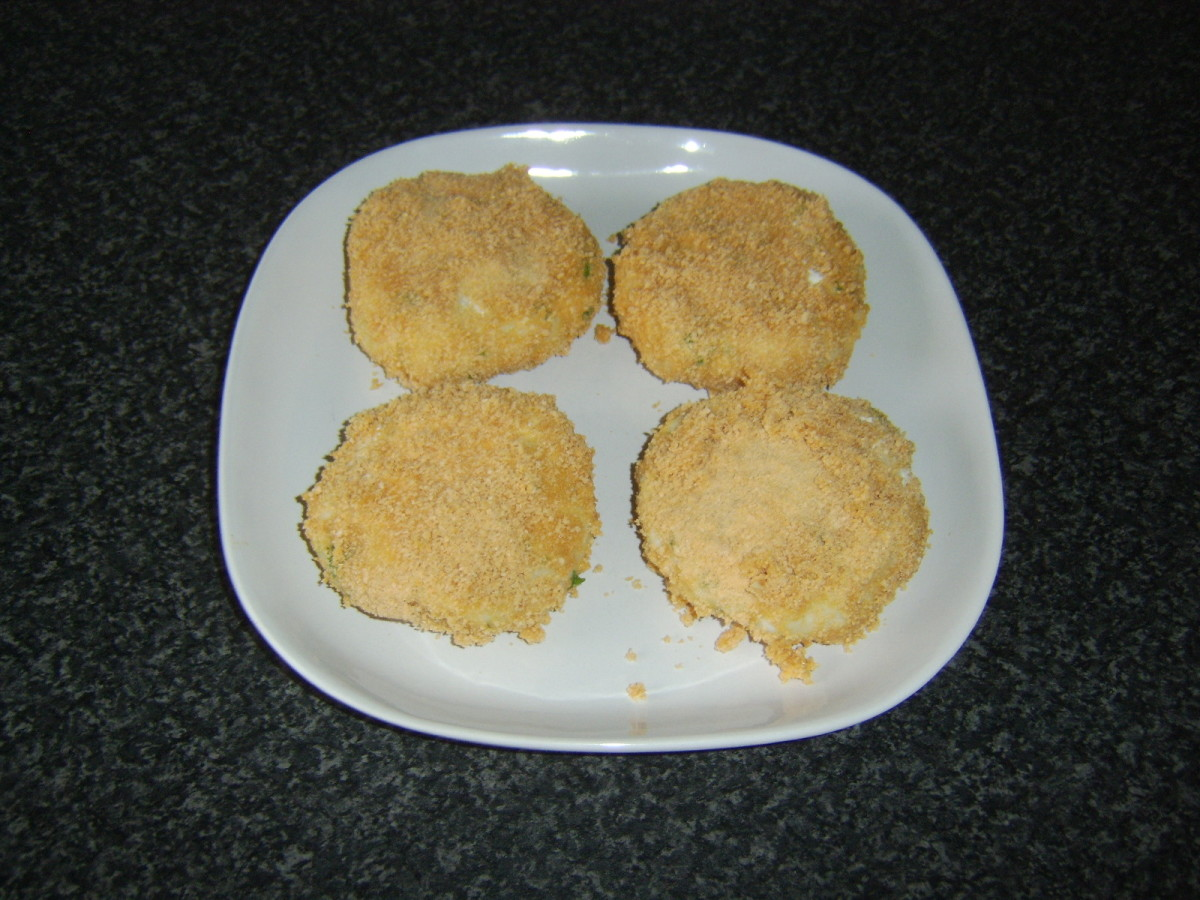Spicy cod fish cakes are ready for frying