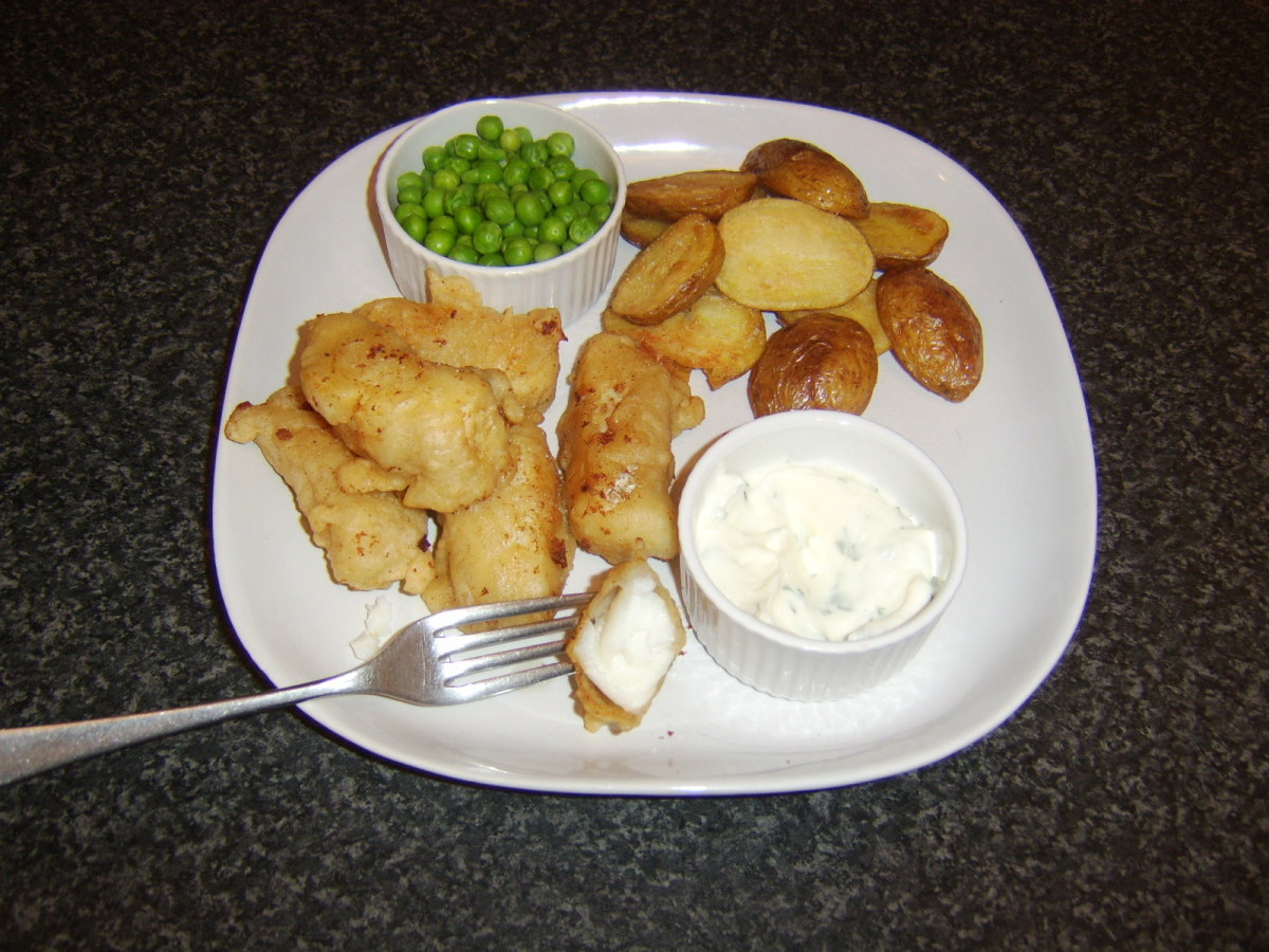 Cod flesh in the goujons is succulent and pearly white