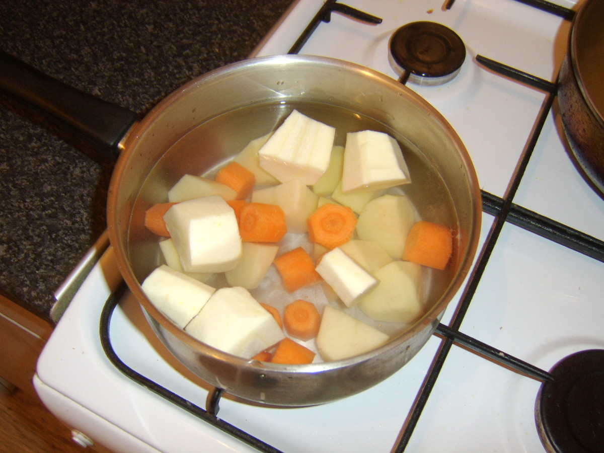 Chopped vegetables for preparing mash