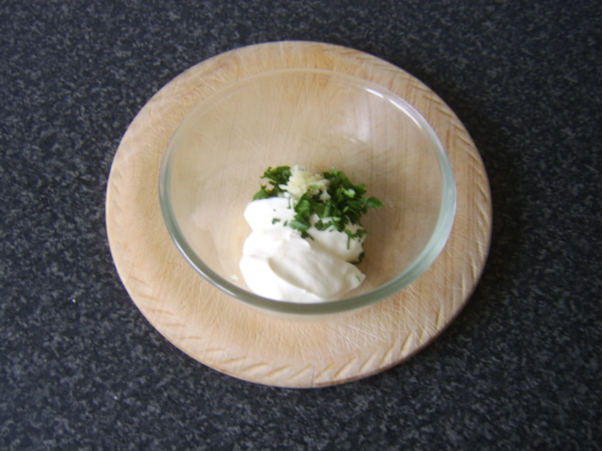 Garlic mayo ingredients are combined