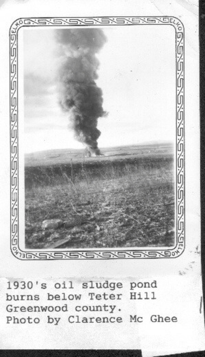 My grandfather's photo of an oil sludge pond burning near Teterville.